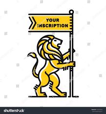 Lion Flag Lion Flag Logo Modern Line Style Stock Vector 710970472 Shutterstock
