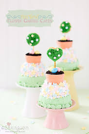 mini tiered easter garden cakes