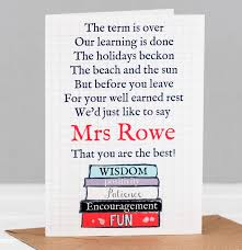 thank you cards for teachers personalised poem card thank you card for
