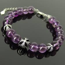 cross beads bracelet images Amethyst crystal healing stone bracelet spirit cross bead silver jpg