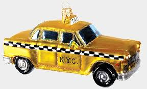 vintage new york city taxi cab blown glass