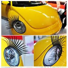 Vw Beetle Vase Accessories A Pair Cool Fashion Car Eyelashes Pvc Logo Stickers Lashes Decal
