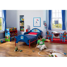 red and blue convertible race car beds with mattress for toddlers