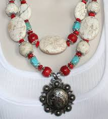 necklace chunky images Cowgirl necklace chunky statement red coral by 123gemstones on jpg