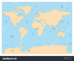 map world seas hydrological map world labels oceans seas stock vector 759894865