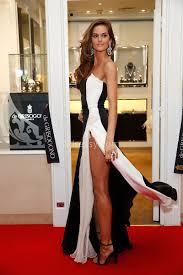 izabel goulart black and white strapless two tone slit prom dress