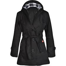 womens check hood coat la s belted button hooded