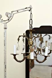 Chandelier Standing Lamp by Junk Chandelier Swings From Antique Lamp Stand Petticoat Junktion