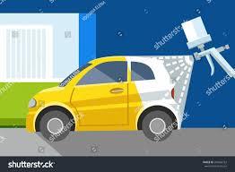 car painting spray gun yellow car stock vector 299466752
