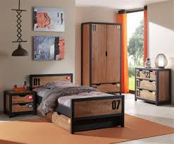 chambre complete enfants chambre complète bois massif marron industriel lestendances fr