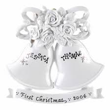 Personalized Wedding Ornament White Wedding Bells Ornament Personalized Wedding Ornaments