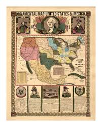 United States Map Wall Art by 1847 Ornamental Map Of The United States And Mexico Vintage Art