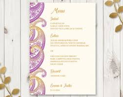 indian menu template indian wedding menu etsy