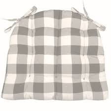 vignette grey buffalo check plaid dining chair pad latex foam