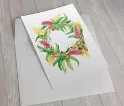 australian christmas australian christmas wreath u2013 greeting card u2013 jasmine phillips