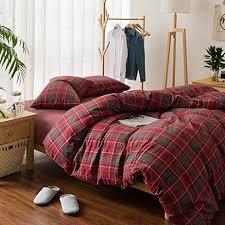 Flannel Duvet Covers Amazon Com Plaid Flannel Bedding Duvet Cover Set Queen King