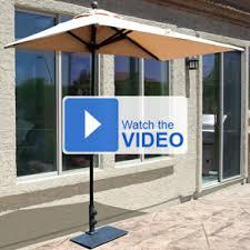 Half Umbrella Patio 7 5 Ft Sunbrella Half Wall Commercial Umbrella Only 279 00 Free