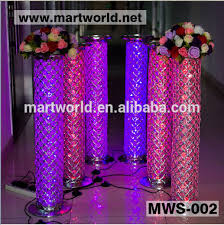 Pillars And Columns For Decorating 1m Silver Led Crystal Decorative Pillar Columns For Weddings