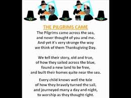 the pilgrims came thanksgiving poems