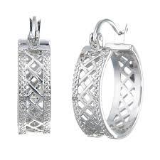 black diamond hoop earrings rhodium plated diamond hoop earrings 1 20 ct checkerboard