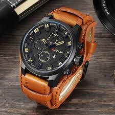 bracelet montre images Curren montre bracelet homme quartz cuir marron achat jpg