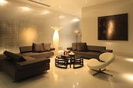 ultra modern living room lighting design with white wall and