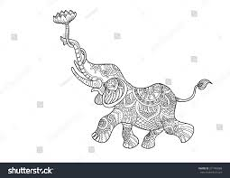 hand drawn picture elephant holding lotus stock vector 271499588