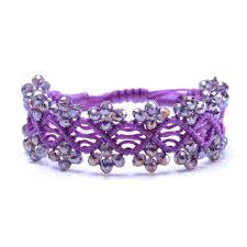 macrame bracelet with beads images Frienship bracelets beaded handmade purple macrame bracelets in jpg