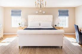 Fabric Sleigh Bed Blue And Cream Bedroom Design Transitional Bedroom