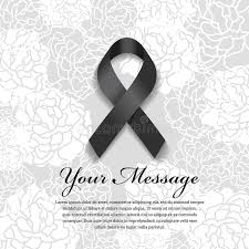 funeral card funeral card black ribbon and place for text on soft flower