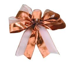 copper ribbon metallic mesh stripe ribbon 25 yards