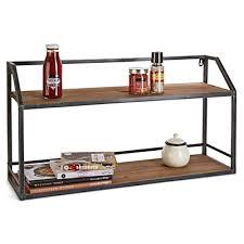 étagère à poser cuisine étagère murale en bois et métal l70cm fir ameublement salon