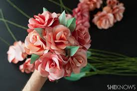 Make Your Own Paper Flowers - diy paper rose bridal bouquet