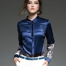in satin blouses 2017 autumn winter sleeve print shirt office