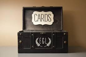 black vintage money card holder box trunk medium wedding money