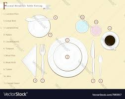 detailed breakfast table setting royalty free vector