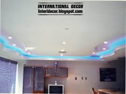 gypsum ceilings designs with blue ceiling lighting ideas