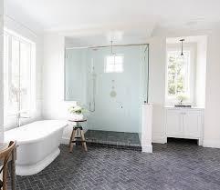 Modern Bathroom Floor Brick Floor Tile With Herringbone Pattern In Modern Bathroom