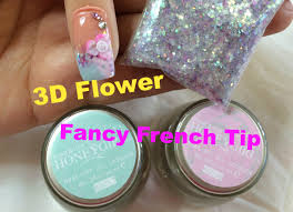 fancy french tip gel nail and acrylic 3d flower nail tutorial