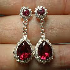 ruby drop earrings silver cz ruby drop earrings ea720 end 8 25 2020 3 43 am
