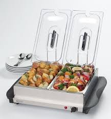 electric 2 dish tray buffet server food warmer catering plate