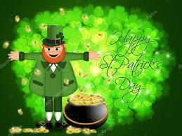 happy st patricks day leprechaun pot of gold u2014 stock photo