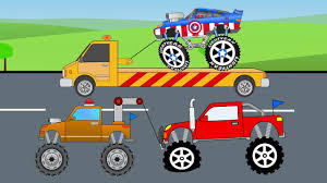 monster jam trucks videos captain america monster truck fixed in toy factory and tow truck
