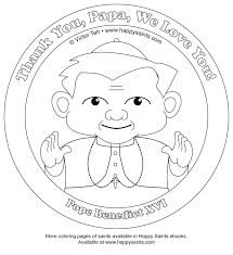happy saints pope benedict xvi coloring page