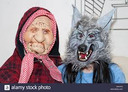 werewolf costume halloween city old lady and wolf masks halloween new york city usa stock photo