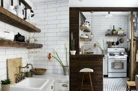 gorgeous vintage kitchen with dark wood island and white subway