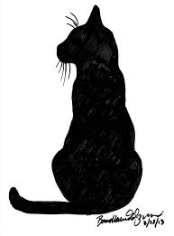 drawn feline black and white pencil and in color drawn feline