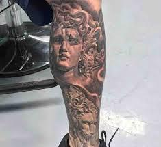 big black and white antic medusa head tattoo on leg tattooimages biz