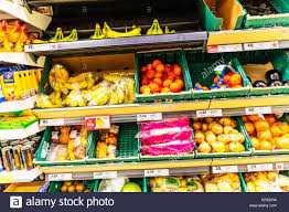 fruit displays supermarket fruit display stand bananas apples clementines stock