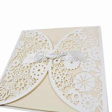 Empty Wedding Invitation Cards 50pieces Bowknot Wedding Invitation Card Laser Cut White Hollow